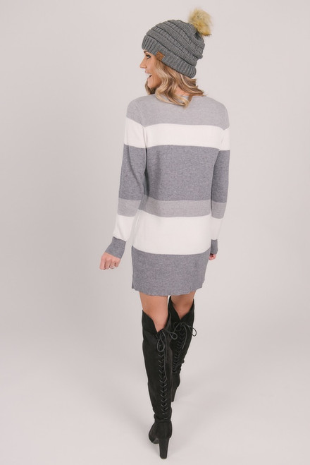 Colorblock Sweater Dress - Grey/Ivory/Charcoal