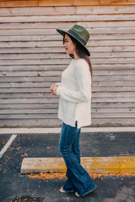 Fuzzy Striped Sweater - White/Ivory