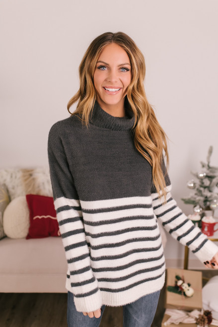 Striped Fuzzy Turtleneck Sweater - Charcoal/Ivory