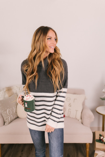 Striped Fuzzy Turtleneck Sweater - Charcoal/Ivory