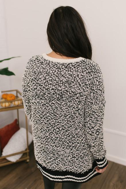 Varsity Stripe Popcorn Sweater - Oatmeal/Black