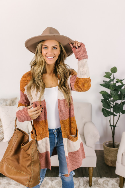 Chenille Colorblock Cardigan - Rust/Vanilla/Mauve - FINAL SALE