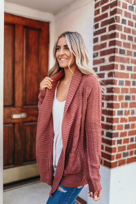 Cable Knit Pocket Cardigan - Brick - FINAL SALE