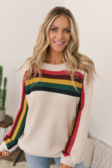 Chase the Sun Retro Stripe Sweater - Rainbow Cream