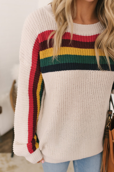Chase the Sun Retro Stripe Sweater - Rainbow Cream - FINAL SALE