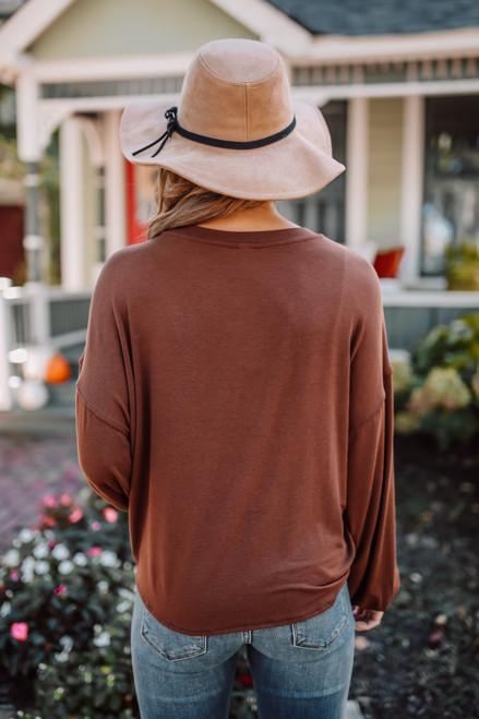 Dolman Sleeve Soft Knit Knot Pullover - Chestnut - FINAL SALE