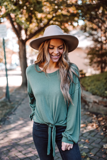Dolman Sleeve Soft Knit Knot Pullover - Forest Green