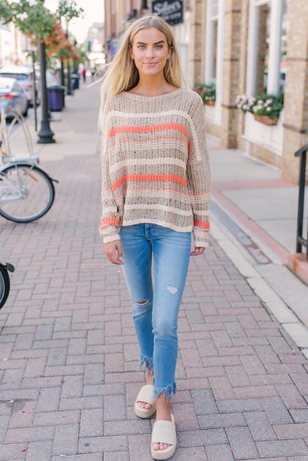 Amarillo Sky Open Knit Striped Sweater - Taupe Multi  - FINAL SALE