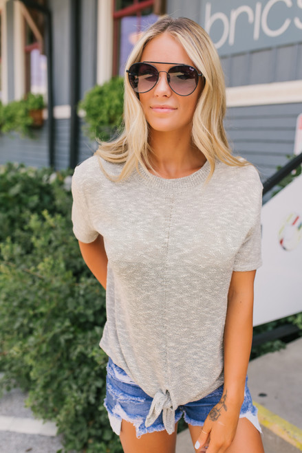 Short Sleeve Two Tone Knot Sweater - Oatmeal - FINAL SALE