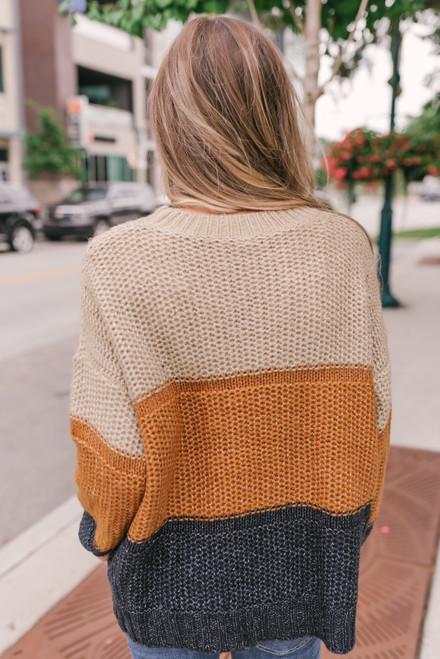 Fireside Colorblock Sweater - Mocha/Rust/Navy