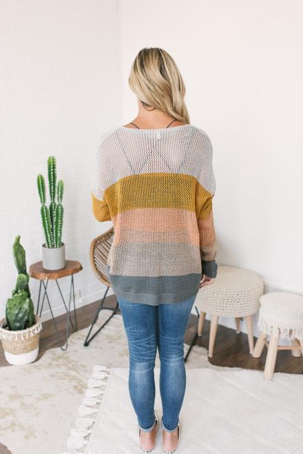 V-Neck Open Knit Colorblock Sweater - Neutral Multi
