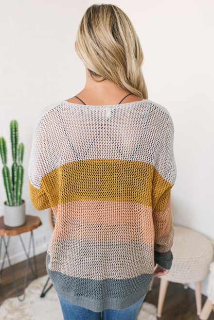 V-Neck Open Knit Colorblock Sweater - Neutral Multi - FINAL SALE