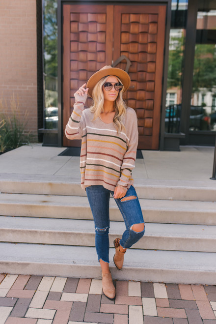 V-Neck Striped Sweater - Mocha Multi - FINAL SALE