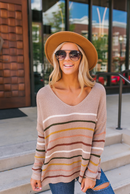 V-Neck Striped Sweater - Mocha Multi