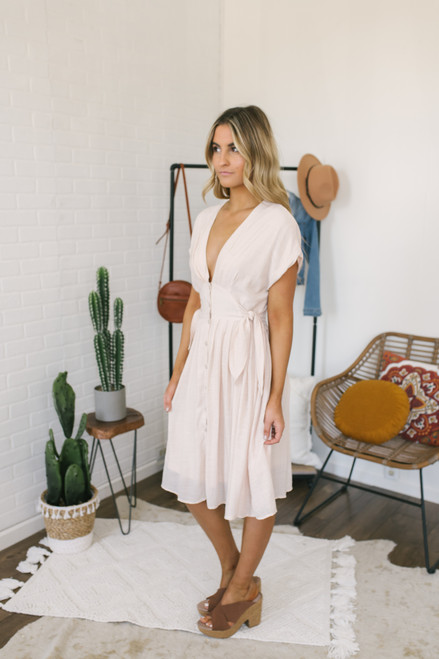 Short Sleeve Button Down Empire Dress - Natural Peach
