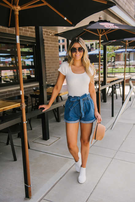 Paperbag Cuffed Denim Shorts - Dark Wash - FINAL SALE
