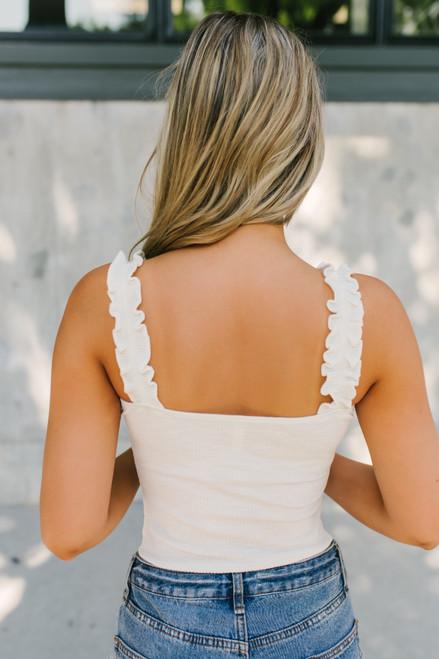 Ruffle Strap Ribbed Knit Bodysuit - Ivory