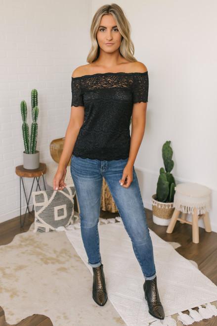 Off the Shoulder Sheer Lace Top - Black -  FINAL SALE