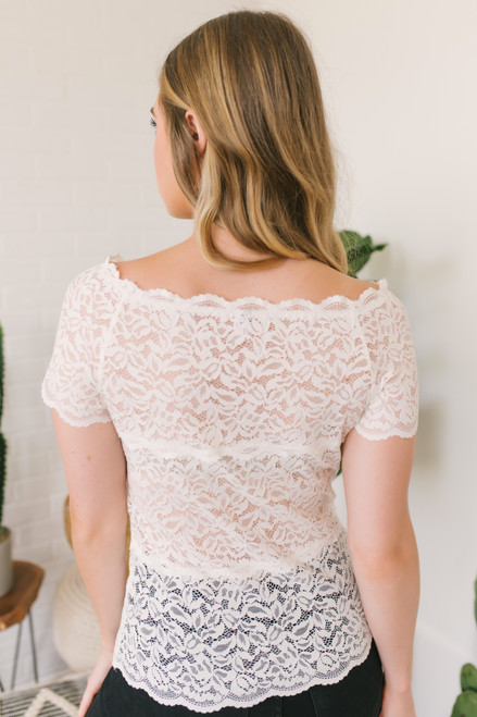 Off the Shoulder Sheer Lace Top - White