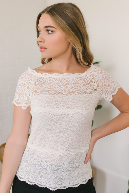 34ec12716e653 Off the Shoulder Sheer Lace Top - White