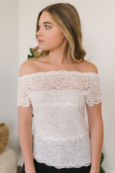 Off the Shoulder Sheer Lace Top - White - FINAL SALE