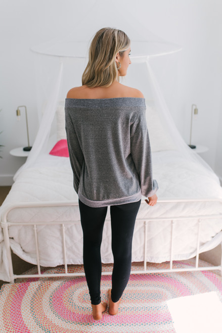 Off the Shoulder Marbled Sweatshirt - Charcoal - FINAL SALE