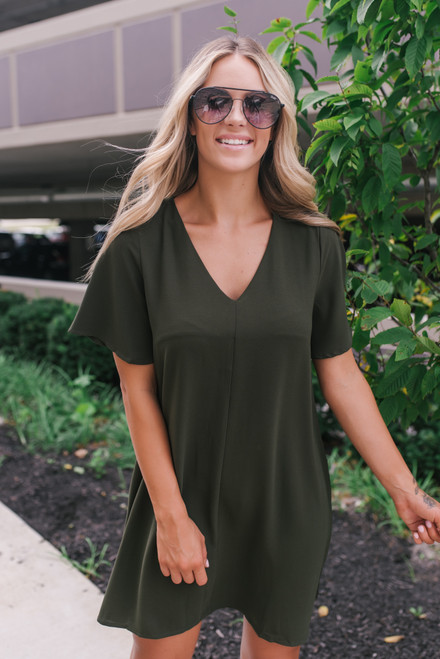 Short Sleeve V-Neck Tunic Dress - Olive - FINAL SALE