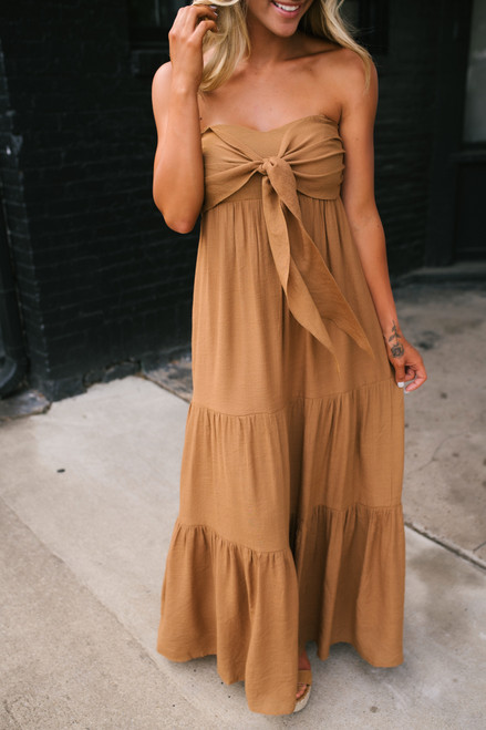 Come Twilight Tie Front Tiered Maxi - Irish Gold