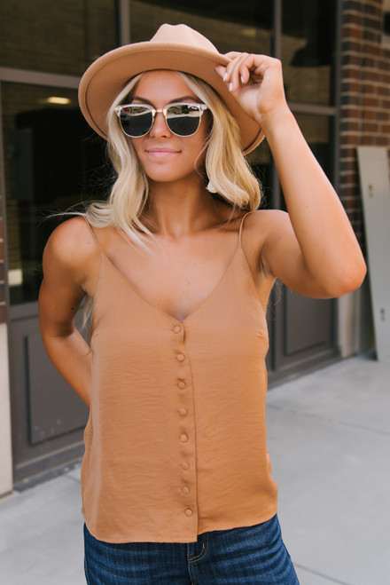 V-Neck Button Down Satin Tank - Irish Gold - FINAL SALE