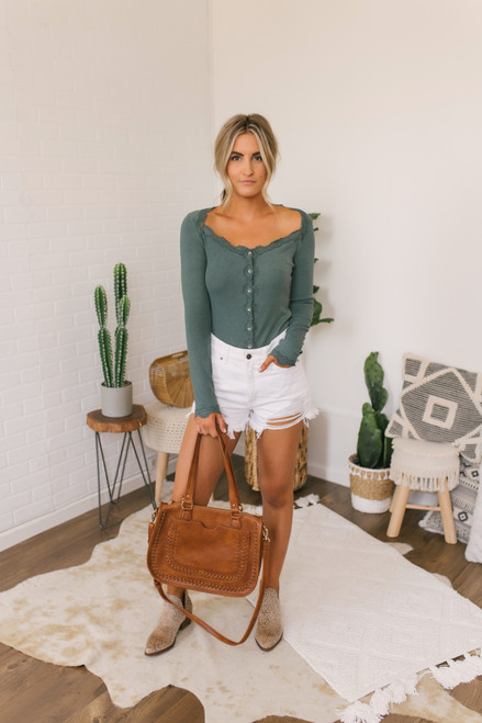 Camille Button Down Lace Detail Top - Forest Green - FINAL SALE