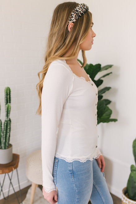 Camille Button Down Lace Detail Top - Ivory- FINAL SALE