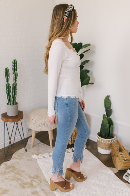Camille Button Down Lace Detail Top - Ivory