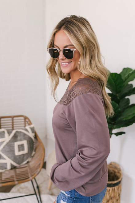 Lace Detail Boatneck Pullover - Dusty Purple