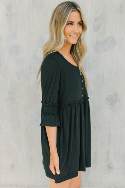 Ribbed Knit Henley Babydoll Dress - Black