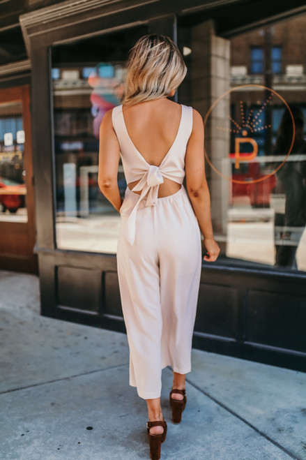 Tie Back Lace Detail Surplice Jumpsuit - Natural - FINAL SALE