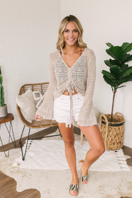 Ruched Front Crochet Sweater - Taupe -  FINAL SALE