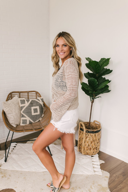 Ruched Front Crochet Sweater - Taupe