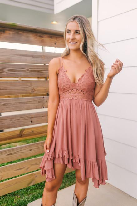 Antebellum Lace Bralette Dress - Brick - FINAL SALE