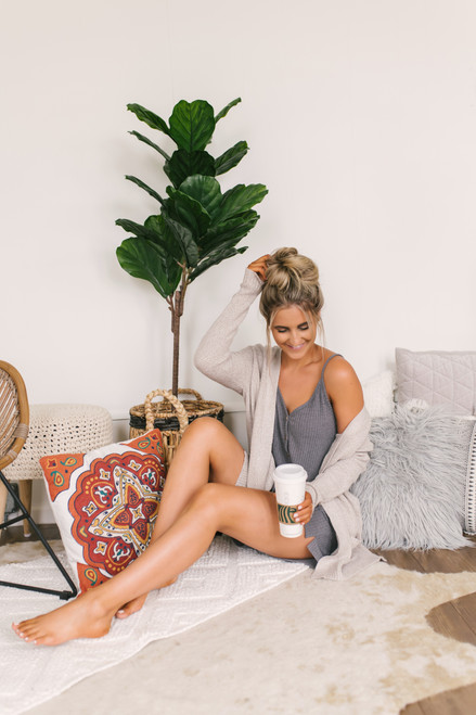 Pillow Talk Waffle Lounge Set - Charcoal
