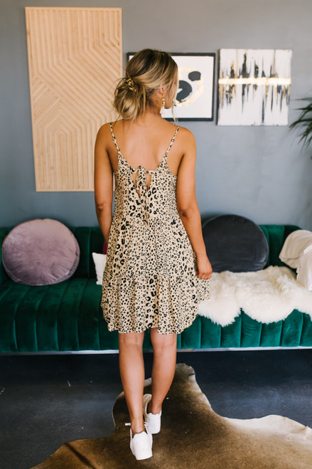 Tiered Leopard Babydoll Dress - Taupe/Black