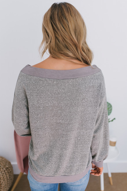 Off the Shoulder Marbled Sweatshirt - Olive - FINAL SALE