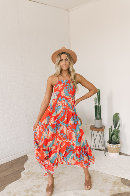 Free People Heat Wave Printed Maxi - True Red Combo - FINAL SALE
