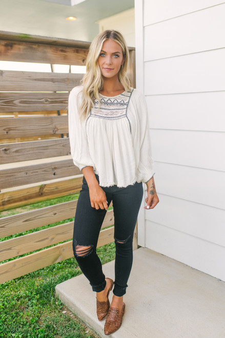 Free People Cyprus Avenue Embroidered Top - Ivory Combo