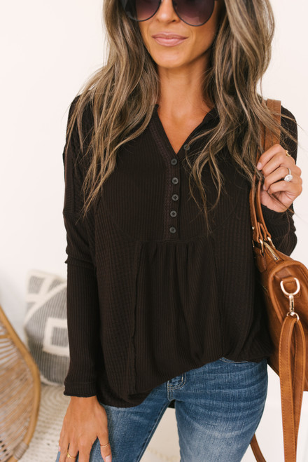Free People Leo Henley Top - Chocolate