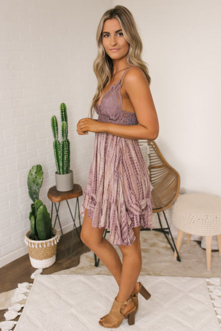 Free People Adella Tie Dye Slip Dress - Plum