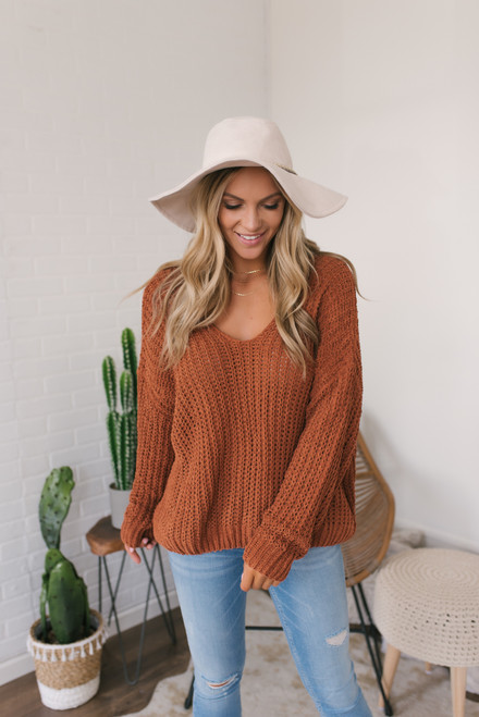 V-Neck Chenille Sweater - Rust  - FINAL SALE