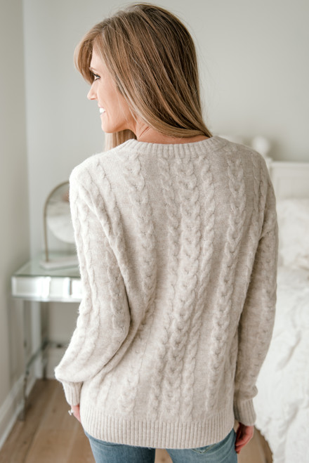 Lake Tahoe Cable Knit Sweater - Cream