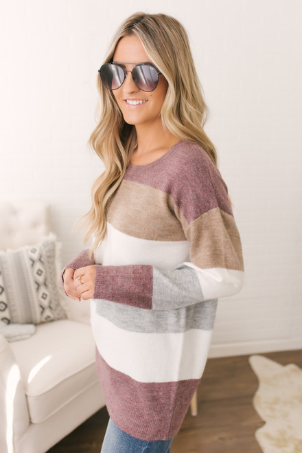 Harvest Festival Colorblock Sweater - Wine Multi  - FINAL SALE