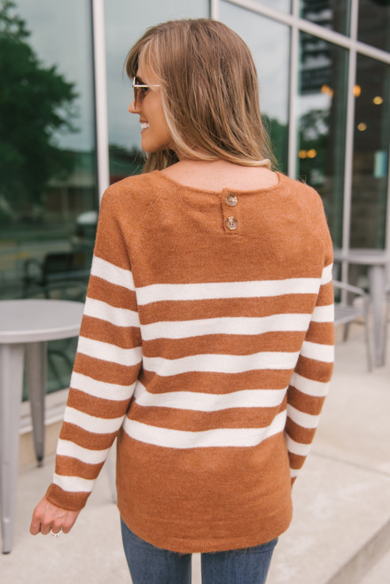 Beacon Hill Striped Sweater - Rust/Ivory