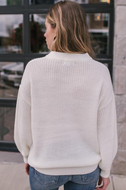 Mock Neck Balloon Sleeve Sweater - Ivory - FINAL SALE